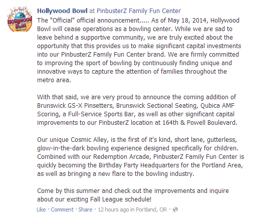 Hollywood Bowl Closing in Portland